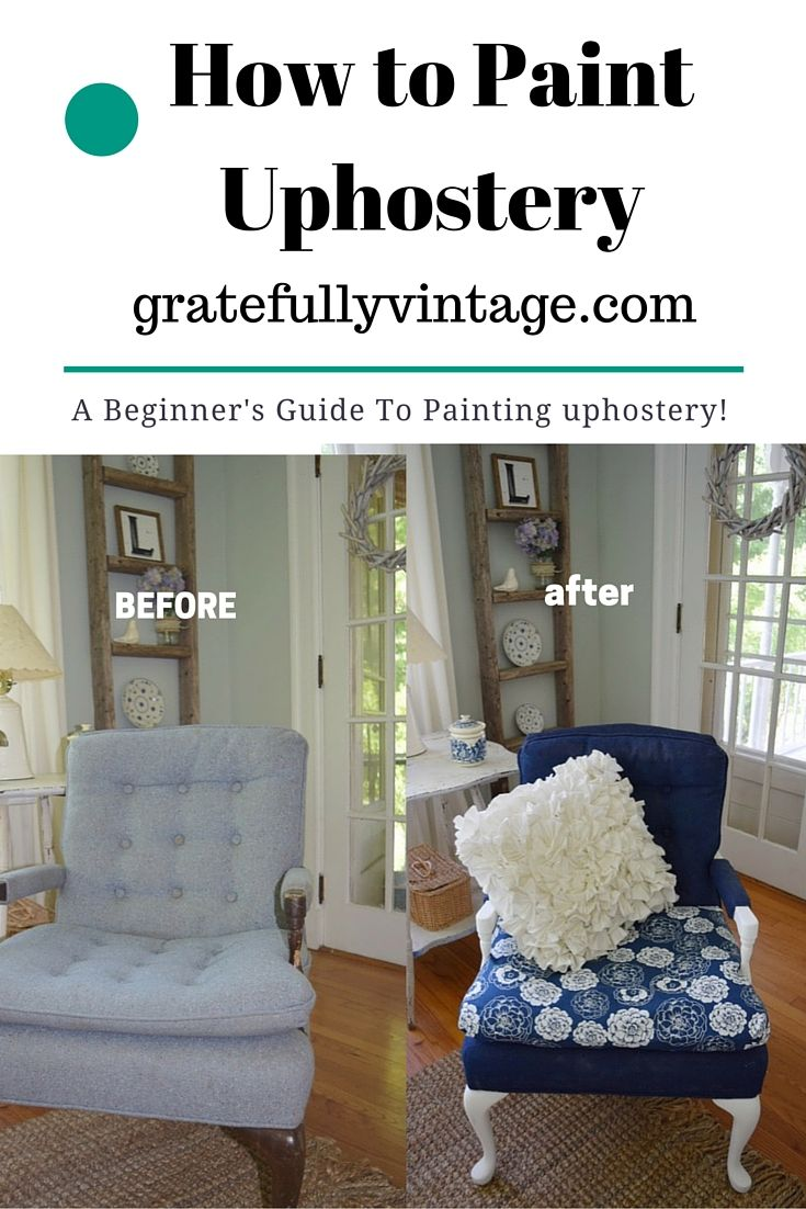 Super easy tutorial on how to paint fabric!!! http://gratefullyvintage.com/paint-upholstered-furniture/