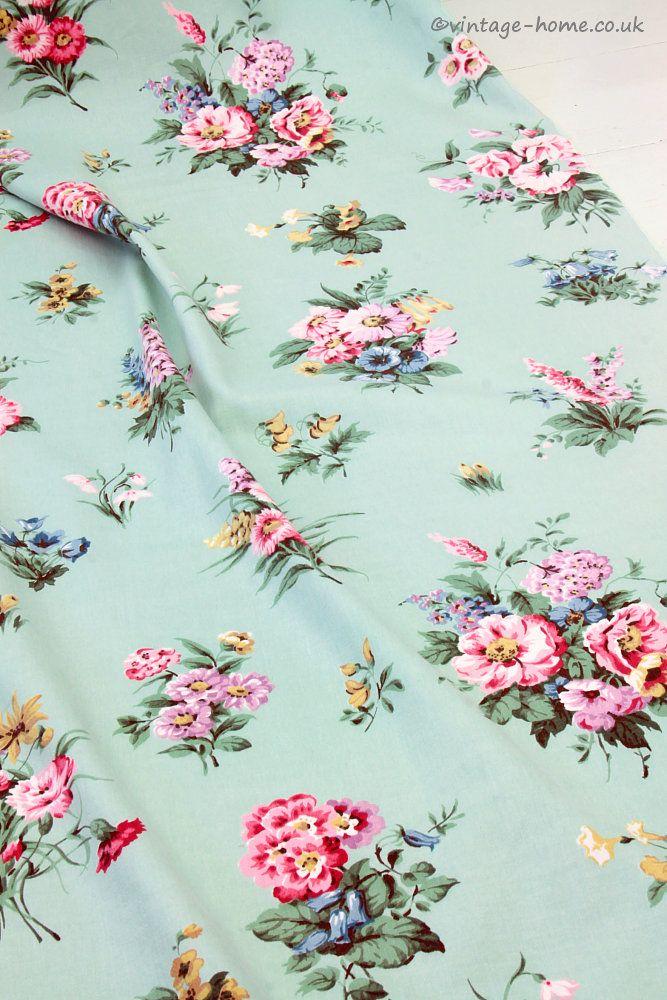 Vintage Home Shop - Pretty 1940s Cottage Garden Floral Curtain: www.vintage-home.co.uk