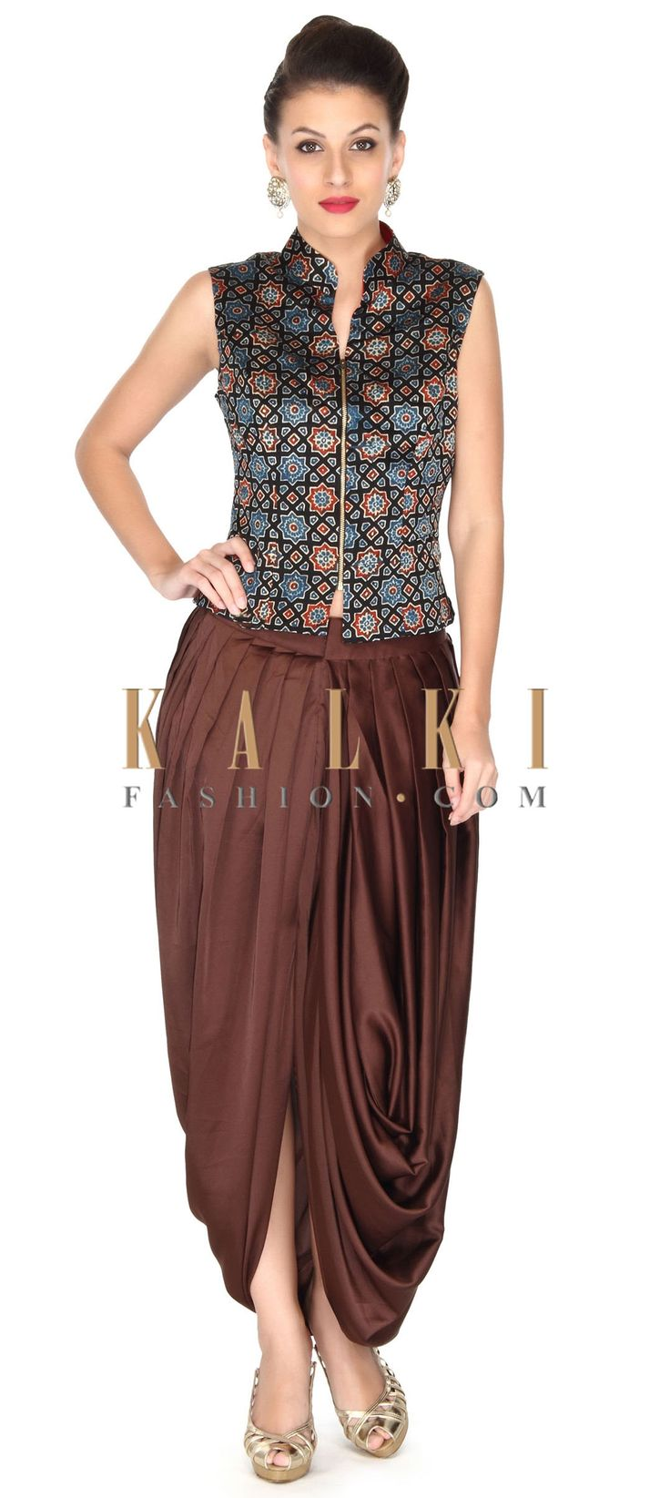 Buy this Multi color top matched with dhoti pant only on Kalki