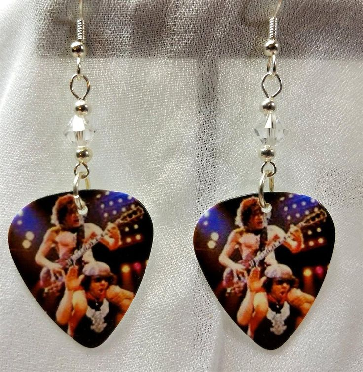 AC/DC Angus Young and Brian Johnson Guitar Pick Earrings with Clear Crystals