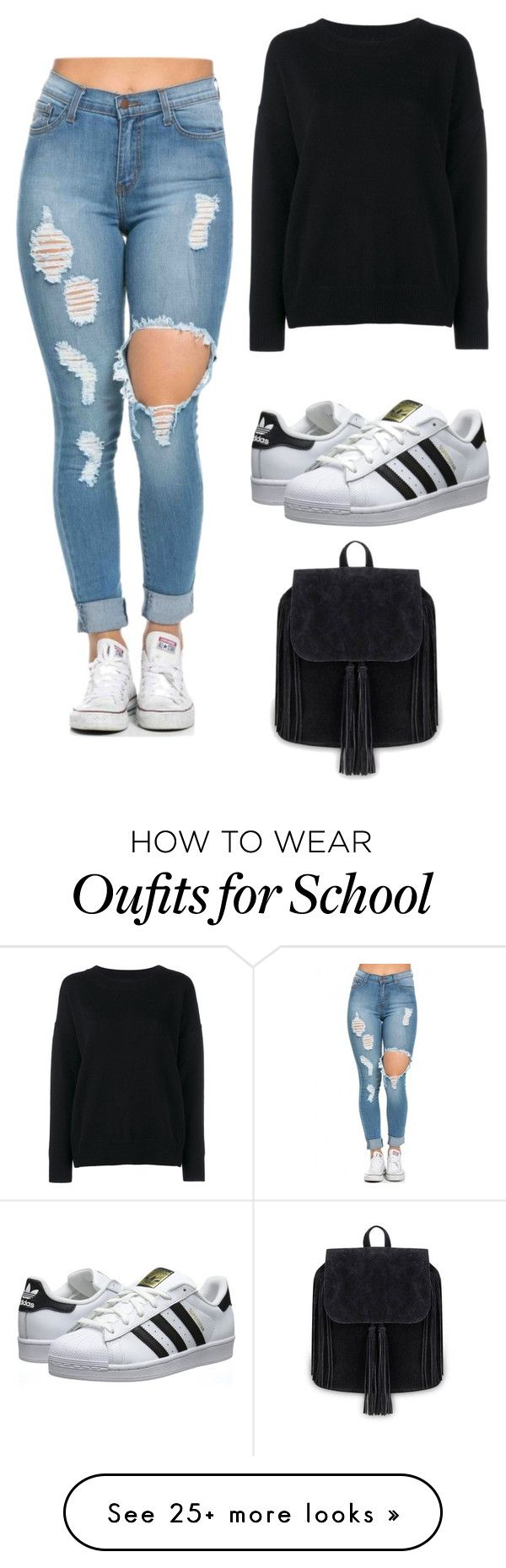 """Back To School Outfit"" by beatrizcostaa19 on Polyvore featuring Frame Denim, adidas Originals, women's clothing, women, female, woman, misses, juniors and BackToSchool"