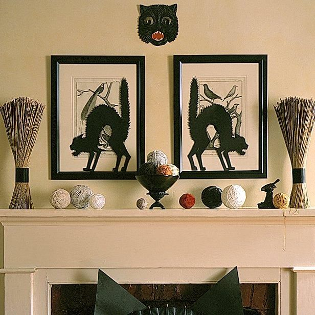 Black Cat Silhouettes How-To: Halloween Decorations, Halloween Mantels, Black Cats, Holidays, Martha Stewart, Cat Halloween, Halloween Decor Ideas, Halloween Decorating Ideas, Cat Silhouette