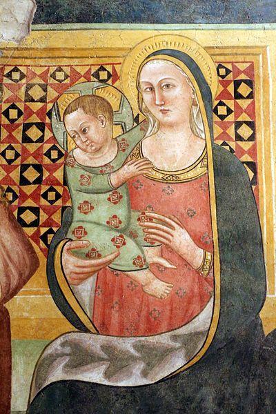 Artista umbro - Madonna in trono col bambino - 1390 ca. - affresco - Museo civico di Gualdo Tadino (Umbria)
