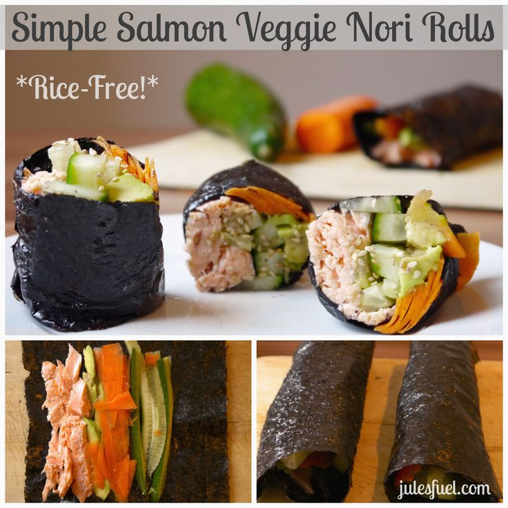 Simple Salmon Veggie Nori Rolls (Rice-Free!): Simple Paleo Recipe, Salmon Veggies, Salmon Nori, Rolls Rice Fre, Simple Salmon, Healthy Eating, Veggies Nori, Paleo Nori Recipe, Rice Free