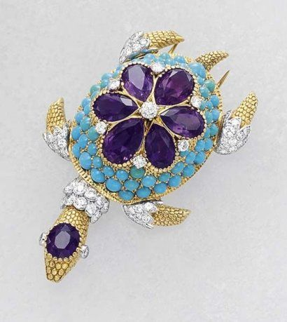 A Diamond Amethyst and Turquoise 'Turtle'Clip CARTIER circa 1950 Designed as a turtle, the bombé body decorated with a pear- shaped Amethyst Floral motif to the cabochon turquoise surround, with Diamond accents, the head enhanced with an oval-cut Amethyst , the neck and feet enhanced with pavé- Set Diamond s,mounted in textured 18K yellow Gold , length 6.2 cm. Signed 'CARTIER.' with French assaymarks