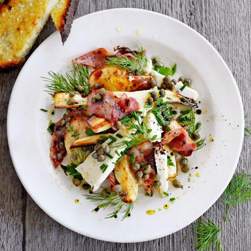 Warme pastinaak-aardappel salade recept - Jamie magazine