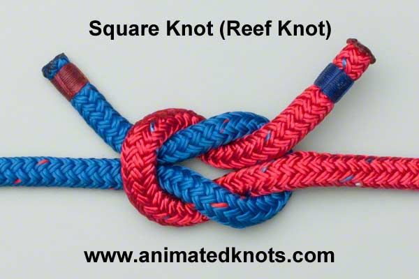 Animated Tutorial on Square Knot (Reef Knot) Tying.Take two ropes and cross them (red over blue) to form a half knot. Cross them a second time (red over blue again) and pull the ends tight to form the Square Knot.