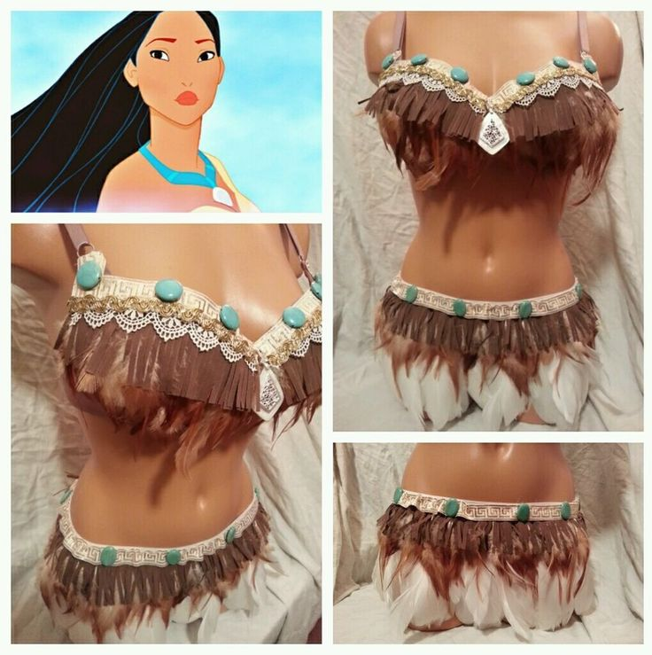 Sexy Pocahontas Feather Indian Costume Rave Bra Outfit EDC Top Clubwear Women