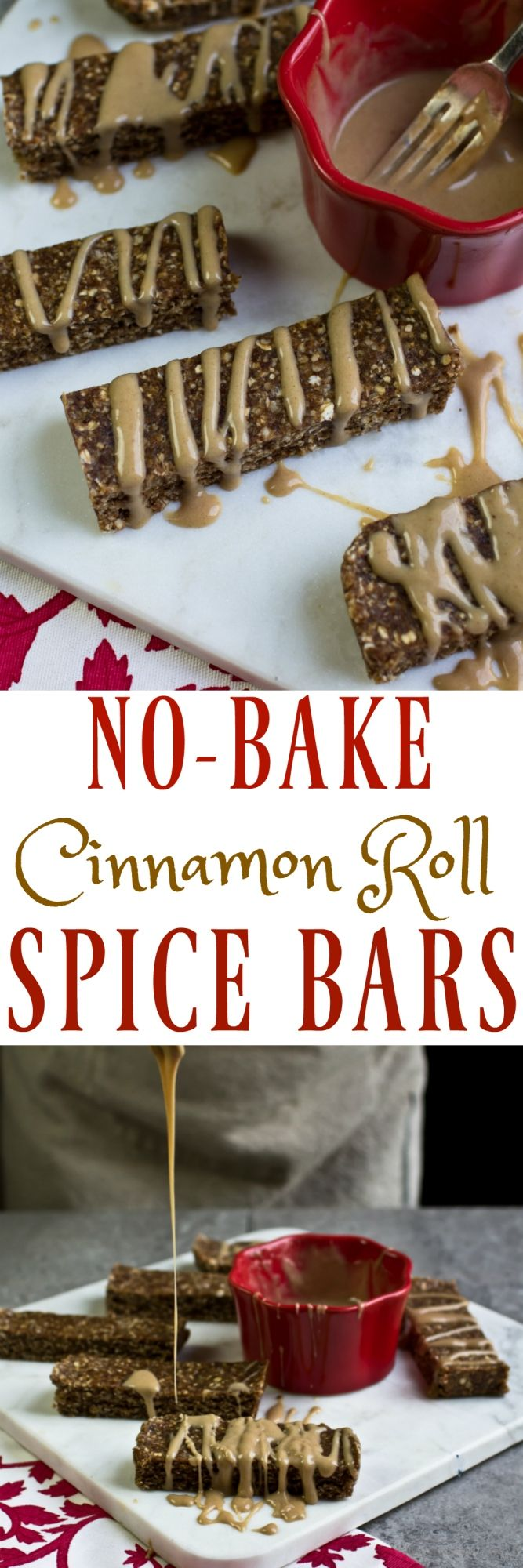 These delicious No-Bake Cinnamon Roll Spice Bars are vegan, gluten-free, oil-free and made with whole food ingredients like almonds, cashews, flaxseed and natural maple syrup. They are a much healthier alternative than a cinnamon roll, but still delicious! Just 8 ingredients, including the drizzle (+ water & salt)! via @thevegan8