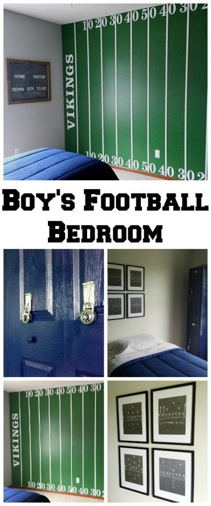 This boring bedroom got a football theme makeover including a locker dresser, faux locker closet doors, and a football field wall.