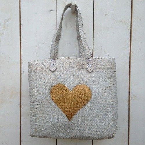Grote Rieten Tas : Rieten tas met gouden hart persensjaals onze