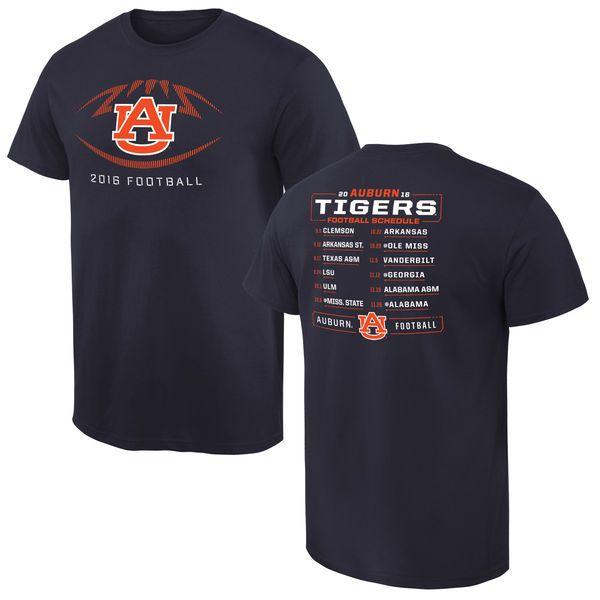 Auburn Tigers 2016 Football Schedule T-Shirt - Navy - $24.99