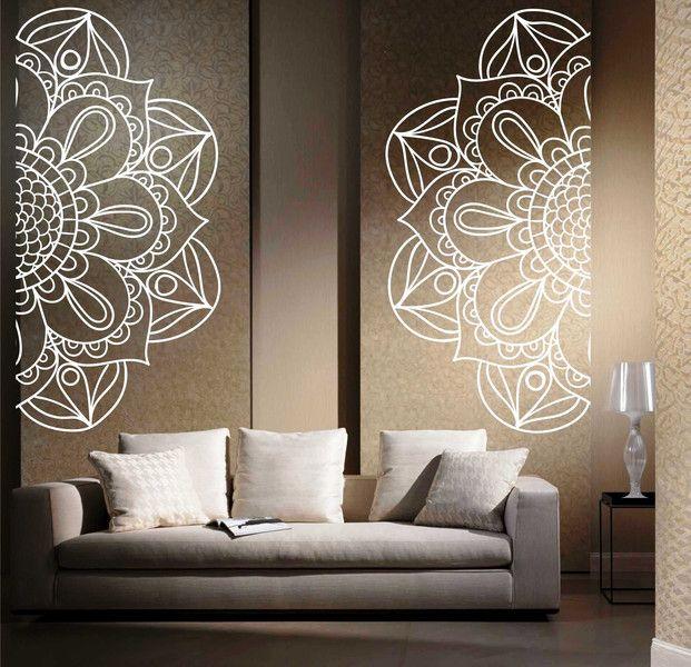 Wandtattoo - Wandtattoo Mehndi Dekor Yoga Aufkleber Mandala - ein Designerstück von taia-s bei DaWanda