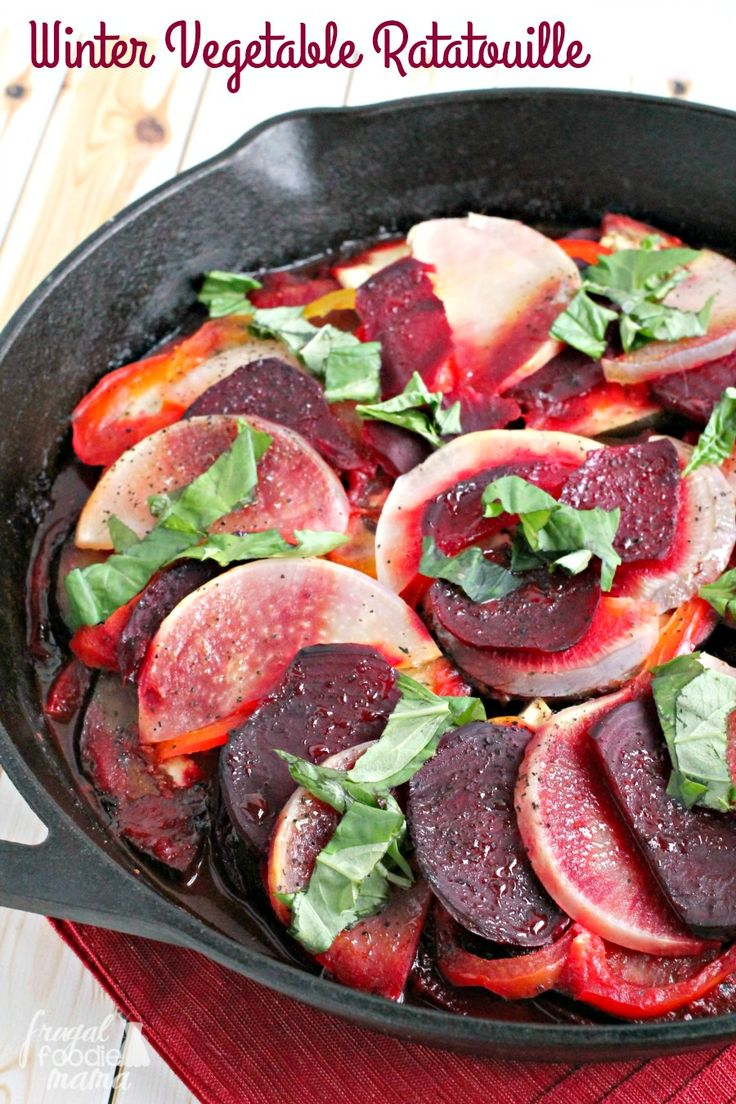 A classic French dish gets a hearty wintertime makeover with the addition of beets & turnips in this easy to make Winter Vegetable Ratatouille. #HBPro #sponsored by @hamiltonbeach