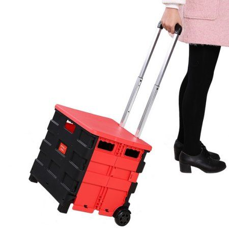 Hand Cart Truck Folding Cart Shopping Travel Casual Trolley Handcart With 2 Wheels SMT