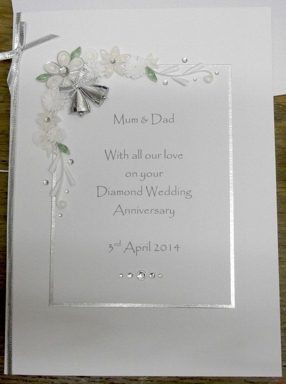 60th Diamond Wedding Anniversary Card Personalised Handmade Quilled Paper Quilling Special