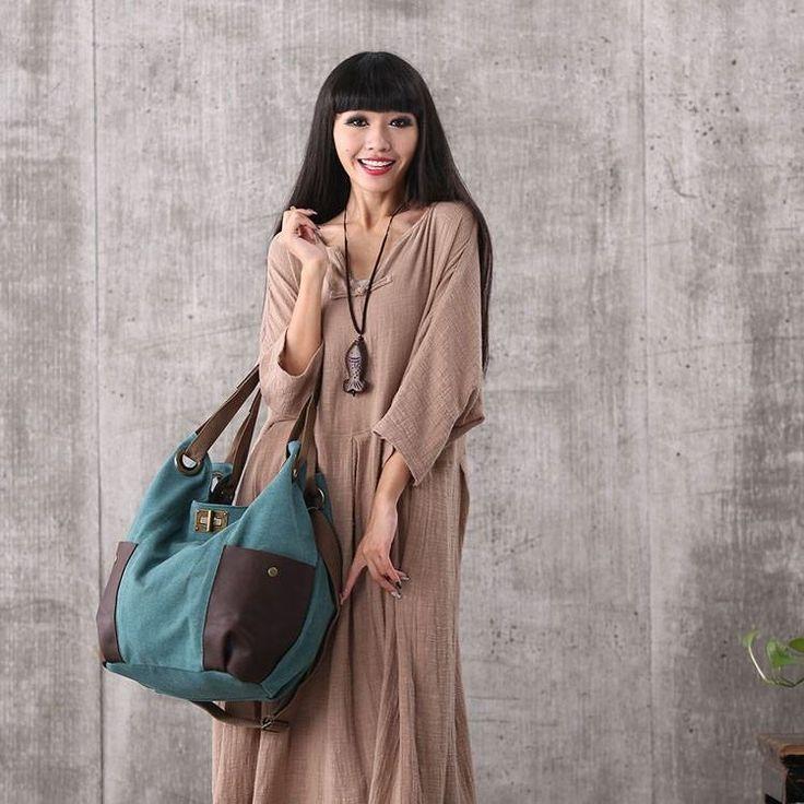 Women green canvas leather shoulder bag handbag messenger bag large capacity bag