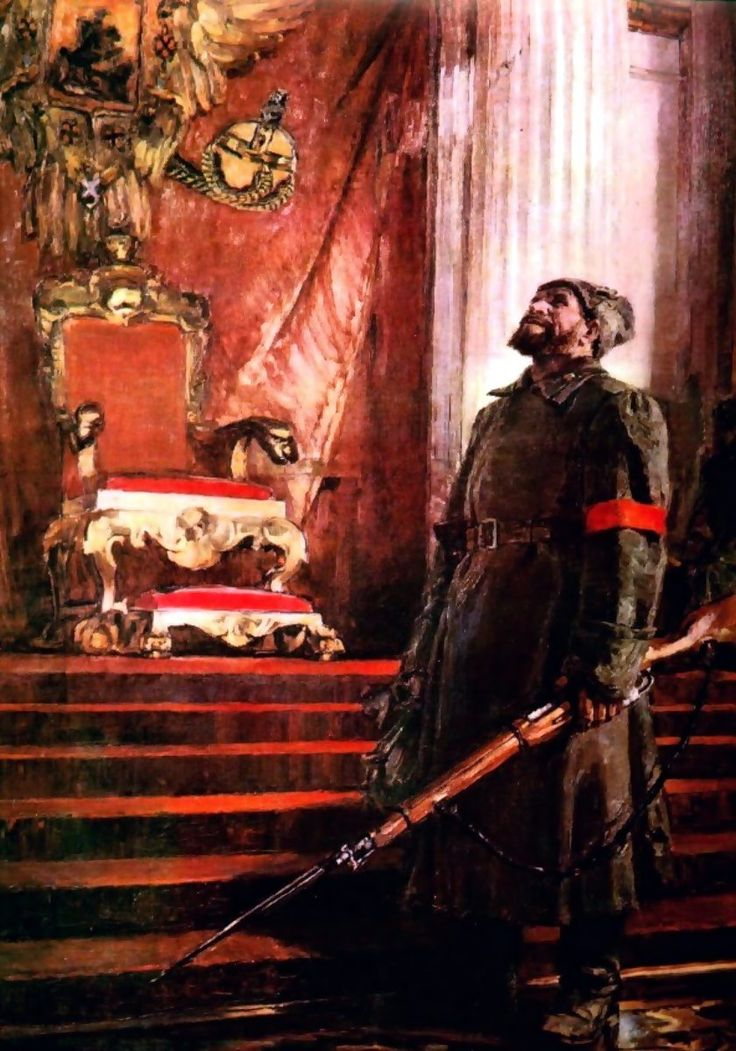 Soviet Red Guard in the empty throne room of the Winter Palace, October Revolution
