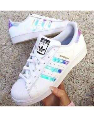 Adidas Superstar Classic White Hologram Iridescent Black Logo
