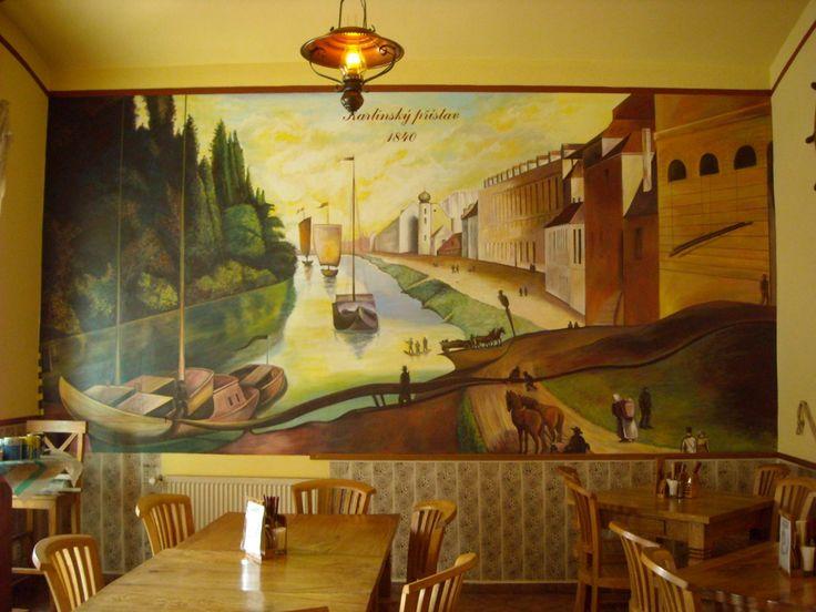"""""""U Karlínského přístavu"""" - autorská nástěnná malba 520 x 220 cm."""
