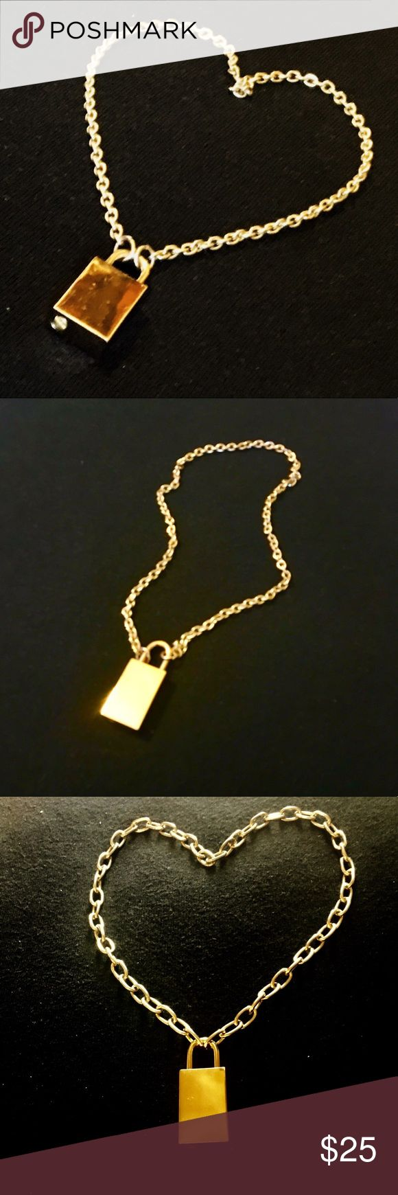 """💝Lock & chain necklace Upcycled lock & chain necklace. Available with your choice of chain: 16"""" chunky chain or 18"""" smaller link, please see photos. Lock 1.25"""" (approximate measurements). Would make a fun gift for Valentine's day for you or a loved one. Jewelry Necklaces"""