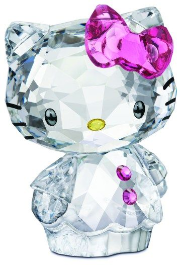 Swarovski Crystal Hello Kitty with Pink Hair Bow.  Swarovski Crystal Figurine.