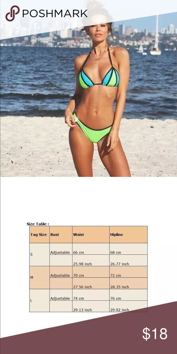Color Block Triangle Bikini Brand new fits a Medium, please see chart before purchasing, please note that this does not come with padding Swim Bikinis