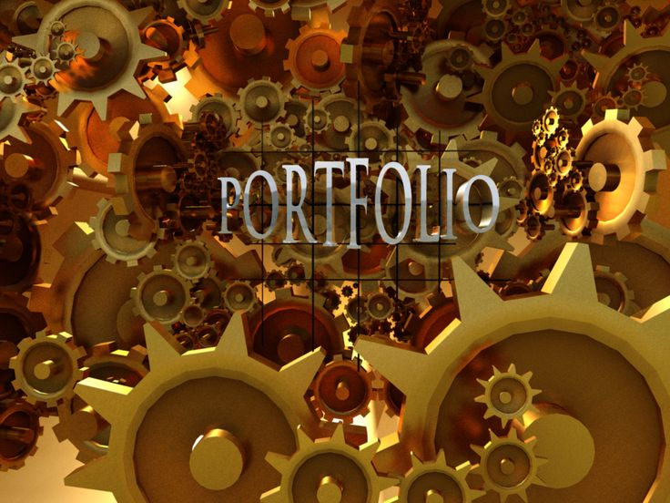 portfolio title with funky gear mechanisms in 3D made by me.