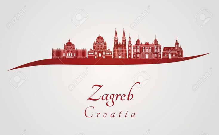 Zagreb Skyline In Red And Gray Background In Editable Vector File Stock Photo Affiliate Gray Background Red Zagr Zagreb Red And Grey Gray Background