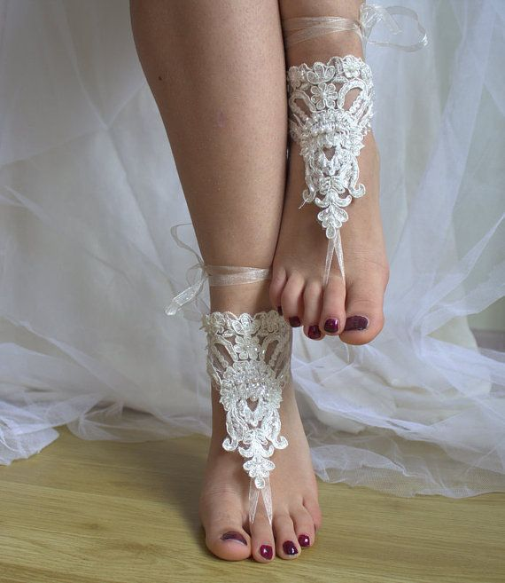 Hey, I found this really awesome Etsy listing at https://www.etsy.com/listing/267837331/beaded-ivory-lace-wedding-sandals-free