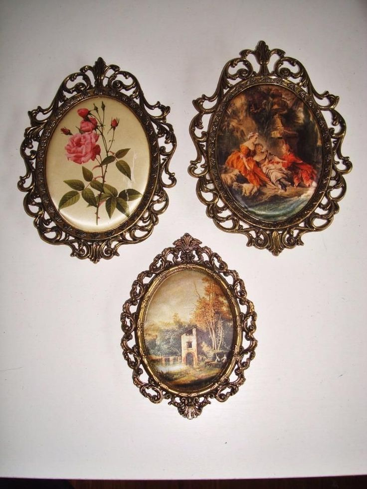 3 Vintage Ornate Frames Made In Italy Classical Silk