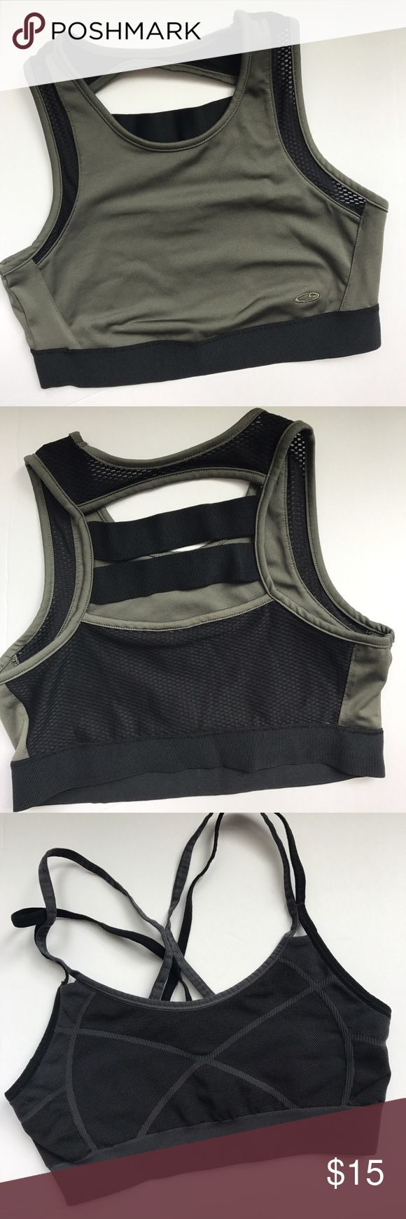 3 champion sports bras size medium 3 separate champion sport bras for the price of 1! Excellent condition. Olive green, black and blue. Champion Tops