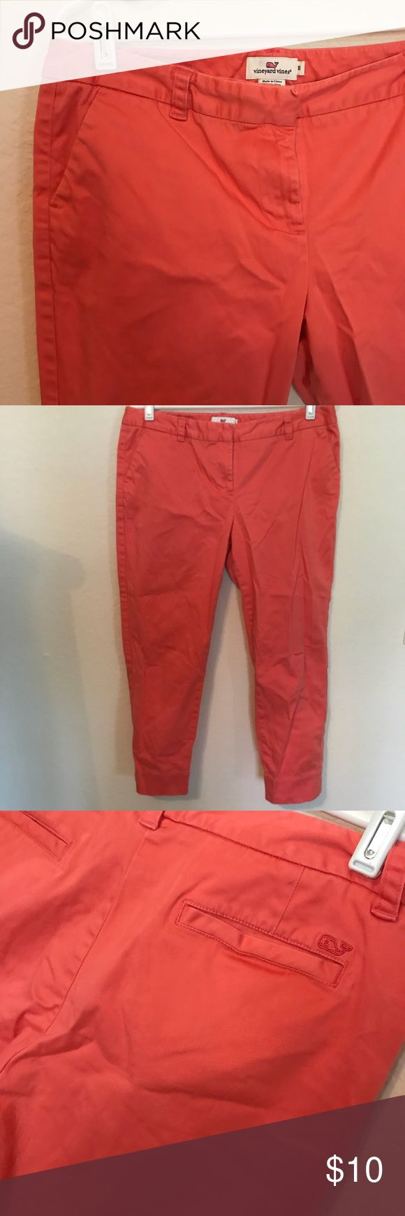 Vineyard Vines Coral Capri pants Great condition other then two small spots- one on back of leg and the other by the front closure. Both pictured. Vineyard Vines Pants Capris