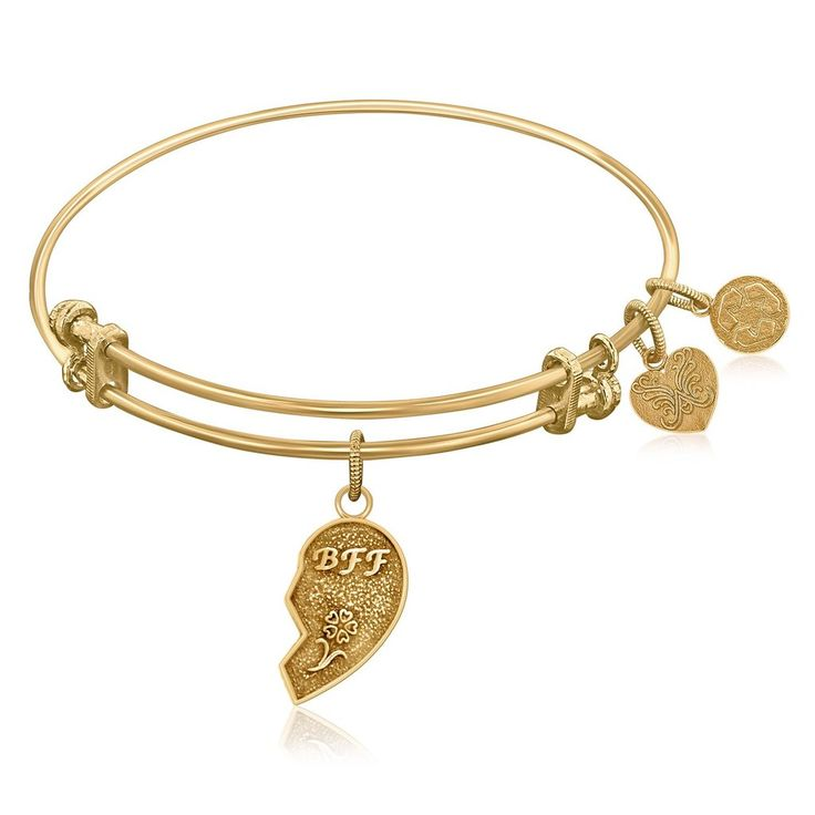 An expandable bangle in yellow tone brass. Best friends share a relationship made without a lifetime guarantee, yet friendships last for a lifetime. A best frie