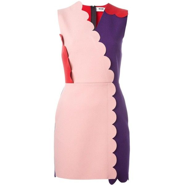 MSGM scalloped colour-block dress (£260) ❤ liked on Polyvore featuring dresses