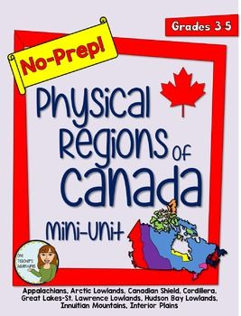 This no-prep pack comes with information and reading comprehension questions about the 8 Physical Regions of Canada - *The Appalachians *Arctic Lowlands *Canadian Shield *Cordillera *Great Lakes-St. Lawrence Lowlands *Hudson Bay Lowlands *Innuitian Mountains *Interior