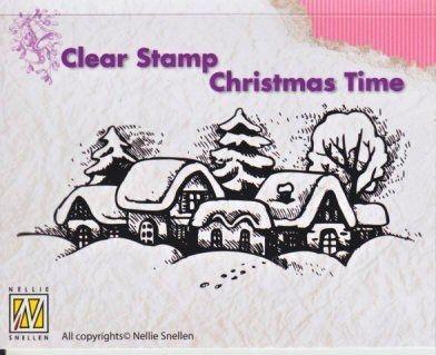 Transparentní razítka / 9,5x4,5cm / Snowy village