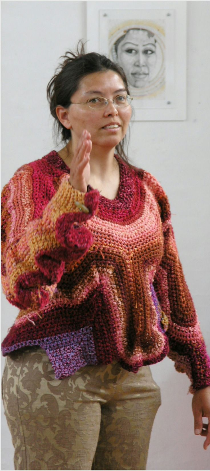 Crocheted freeform sweater by Naja Abelsen. (and one of my drawings in the background)