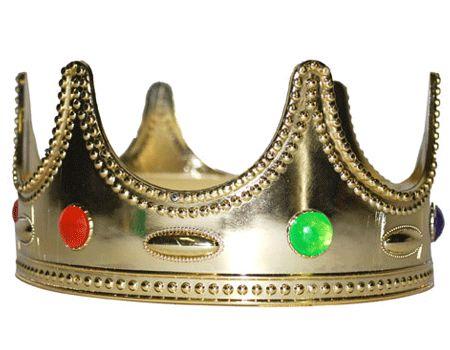 Gouden kroon voor kinderen. Met deze gouden kroon toverd u uw kind helemaal op tot een koning of een prins! Deze gouden kroon heeft groene en oranje steentjes erop is heeft een omtrek van 47 cm.