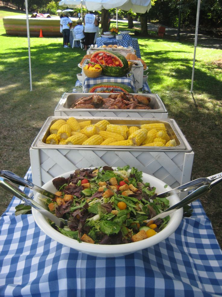 A Picnic Time buffet, using our white buffet equipment on blue gingham linen. We custom-made these white chafing dish covers. Our clients love them!
