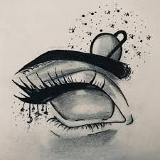 cute - Betty Herd - Space Everything Dark Art Drawings, Pencil Art Drawings, Art Drawings Sketches, Cool Drawings, Tumblr Sketches, Art Du Croquis, Galaxy Eyes, Nose Drawing, Easy Doodle Art