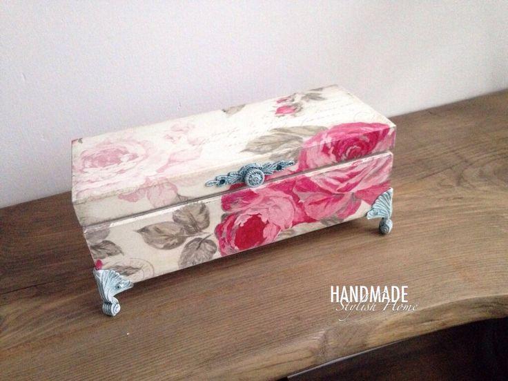 shabby chic pink roses tea box, tea box, wooden tea box, wooden tea storage box, elegant tea box, vintage tea box by HandmadeStylishHome on Etsy https://www.etsy.com/listing/486176999/shabby-chic-pink-roses-tea-box-tea-box  decoupage sweet pink roses shabby chic tea box