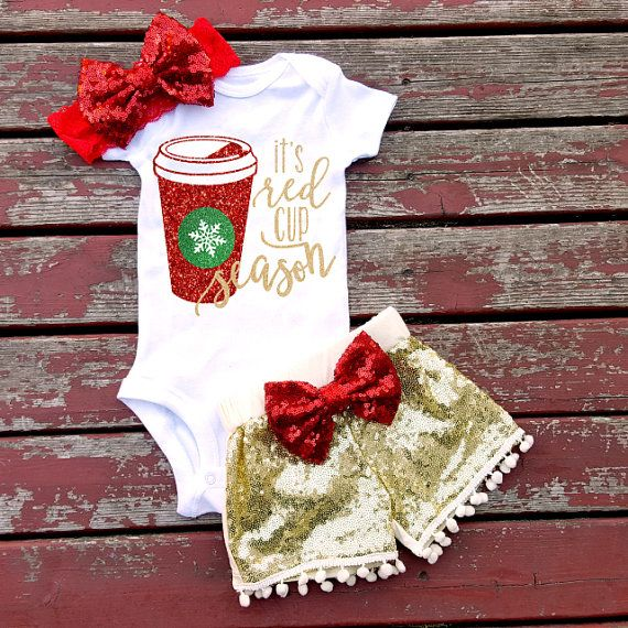 It's Red Cup Season Baby Girl Bodysuit by GLITTERandGLAMshop