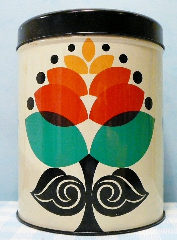 Retro oud blik  vintage old tin container altes blech blikken 70s seventies jaren 70. via Etsy.