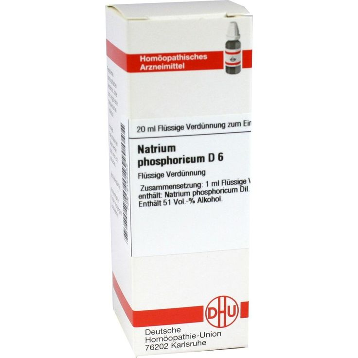 NATRIUM PHOSPHORICUM D 6 Dilution:   Packungsinhalt: 20 ml Dilution PZN: 02122552 Hersteller: DHU-Arzneimittel GmbH & Co. KG Preis: 5,64…