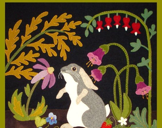 A Garden Intruder - Summer: Rabbit, Primitive, Whimsical, Wool Appliqué PATTERN, Sweet Quilt - You get FREE SHIPPING