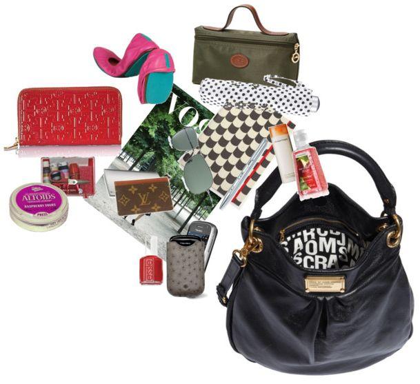 Inside my Bag @Tory Burch wallet, Lonchamp pouchette, Louis Vuitton card holder, Vogue, Blackberries,foldable flats, mints, umbrela. essie nail polish...
