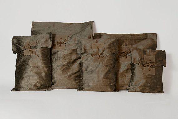 Silk storage pouchOlive beige storage by ElenaVandelliBags on Etsy