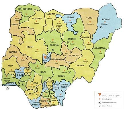 map of nigeria showing 36 states and capital  Google Search