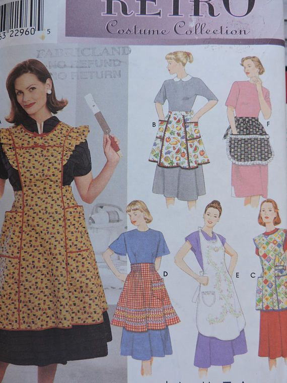 Apron 6 Styles of Retro Costume Collection Aprons Simplicity